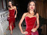 Strictly's Emma Weymouth exudes glamour in a strapless scarlet velvet gown at a VIP gin launch party