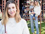 Whitney Port rocks mom jeans as she poses amid holiday decor during shopping trip with son Sonny