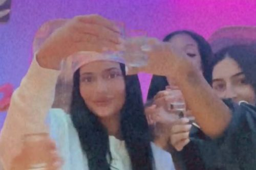 Kylie Jenner downs champagne as she parties on £72m private jet for pal's party