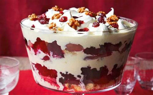 Cranberry, pear and port trifle recipe