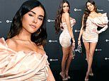 Madison Beer goes retro in eighties prom-inspired peach mini dress at Spotify pre-Grammy party in LA