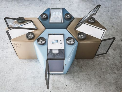 These sealed individual work pods with air purifiers show what returning to the office could look like