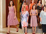 Queen Letizia of Spain is elegant in a dress and heels as she meets health workers in Madrid