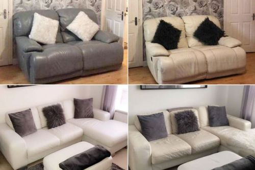 Mum transforms worn out leather sofa with £20 paint and it looks 'like new'