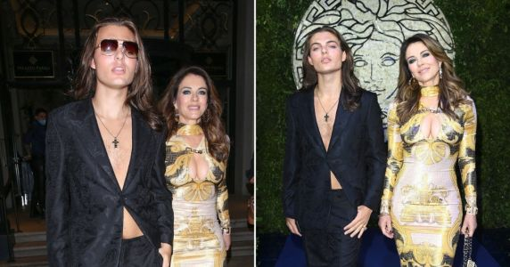 Elizabeth Hurley and son Damian don plunging outfits as they arrive at Milan Fashion Week