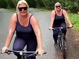 Gemma Collins says she's 'embracing the elements' while on a bike ride in a thunderstorm