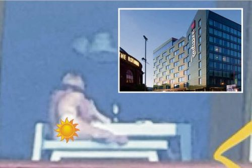 Bare bum sunbather gives Glasgow an eyeful after forgetting to close hotel blinds