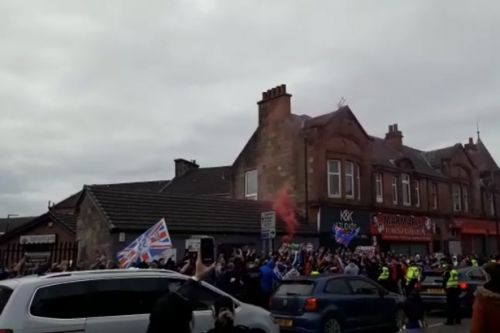 Rangers fans gather to celebrate famous 55th title win in Larkhall