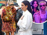 Miley Cyrus glams up in faux fur coat and platform heels in NYC to film secret project with Dua Lipa
