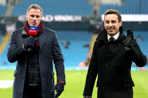 Gary Neville and Jamie Carragher battle it out in pre-match race ahead of Aston Villa vs Everton