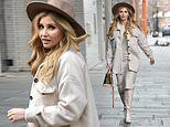 Love Island's Amy Hart adds a brown trilby hat to an all-taupe ensemble at London's Union Theatre