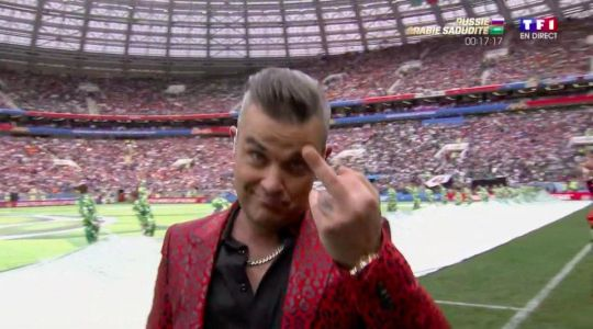 World Cup 2018: Robbie Williams shocks live TV audience of six million by sticking middle finger up to camera during opening ceremony