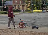 Ingenious father attaches a remote control car to a tiny cart and takes his baby for a spin