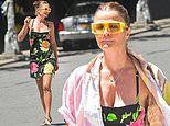 Helena Christensen appears to be ready for the summertime while taking pictures in NYC