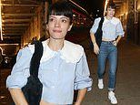 Lily Allen rocks a sky blue blouse and roll-up jeans after her theatre show in Leicester Square