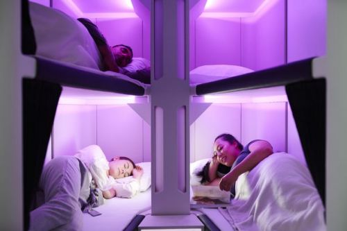 New economy cabin 'pods' mean passengers can sleep on beds during long-haul flights