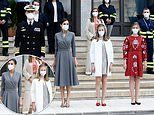 Queen Letizia of Spain and King Felipe are joined by their lookalike daughters