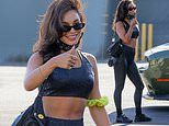 Vanessa Hudgens shows off gym-honed figure in skintight black crop top and leggings in LA