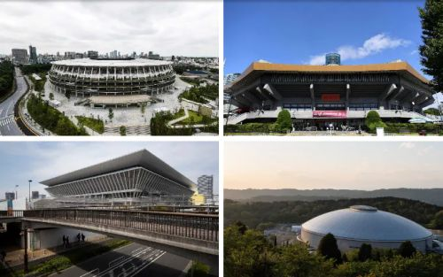 The venues hosting the Tokyo 2020 games, including the Olympic Stadium and Aquatics Centre