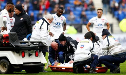Lyon footballer Martin Terrier sparks scare after sudden pitch collapse