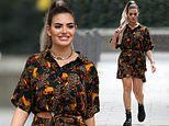 Megan Barton Hanson displays her eclectic sense of style as she films Celebs Go Dating