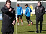 Jan Siewert takes Huddersfield training for the first time since taking over from David Wagner