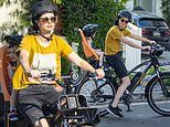 Krysten Ritter enjoys family cycle ride with partner Adam Granduciel and their son Bruce, 2