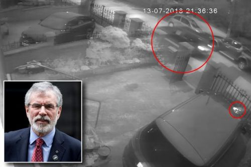 Gerry Adams: Dramatic CCTV footage shows explosive device being hurled at ex-Sinn Fein leader's house from moving car