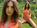 Emily Ratajkowski gets back to nature as she poses seductively among lush foliage