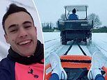 Spurs star Sergio Reguilon screams as he is pulled through the snow by Gareth Bale on a golf buggy