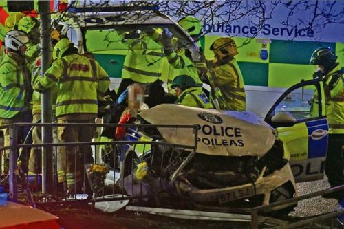 Police officer on 999 call seriously injured in horror car crash in Glasgow