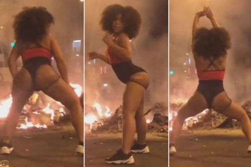 Outrage as Instagram model twerks while Barcelona burns during city's riots