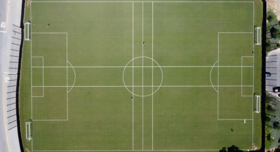 Aerial shots show LAFC soccer players training on special coronavirus social distancing pitches