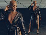 Tiffany Haddish in low-cut leather jacket dress featuring VERY high split for Mônot fashion campaign