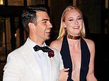 Sophie Turner puts on a busty display as she arrives for husband Joe Jonas' James Bond birthday bash