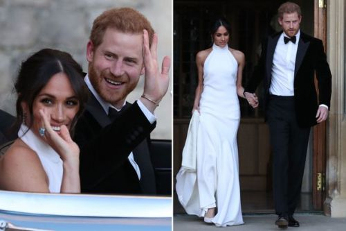 Stunning Meghan wears dazzling second wedding dress as husband Harry drives newlyweds to evening reception in Jaguar E-Type sports car