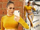 Jennifer Lopez shows off taut abs during sweaty workout. after serving bridal looks for new movie