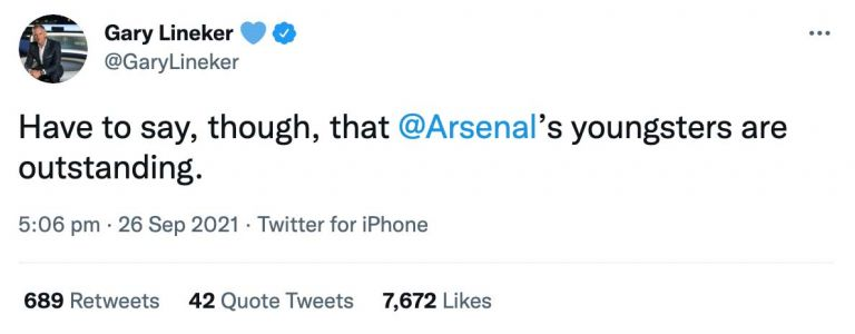 Gary Lineker makes honest admission about Arsenal during 3-0 win over Tottenham